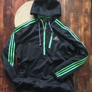 Black and Green Adidas Half Zip windbreaker